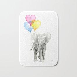 Elephant Watercolor with Balloons Rainbow Hearts Baby Animal Nursery Prints Bath Mat