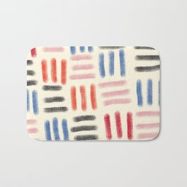 Red, Pink, and Blue Dash Mud Cloth Bath Mat