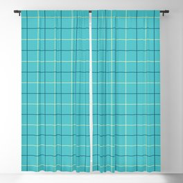 Grid Color Combination Turquoise Blackout Curtain