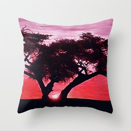 Cherry Blossom Sunset Throw Pillow