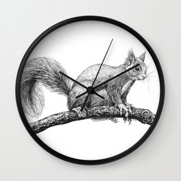 Squirrel drawing Wall Clock