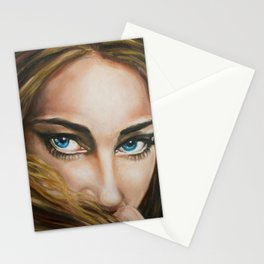Intense Gaze Oil Painting detail Stationery Cards