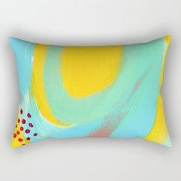 Be Bright, Be OK mint abstract painting yellow mint green modern art sky light blue lines simple Rectangular Pillow