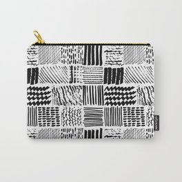 Textured marker hand drawn squares stripes Carry-All Pouch