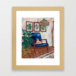 Ginger Cat on Blue Mid Century Chair Painting Framed Art Print