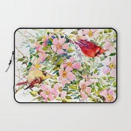 Cardinal Birds and Wild Rose Flowers Laptop Sleeve