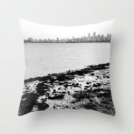 Vancouver Skyline on a Grey Day Throw Pillow