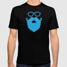 Hipster Beard Blue Mens Fitted Tee Black MEDIUM