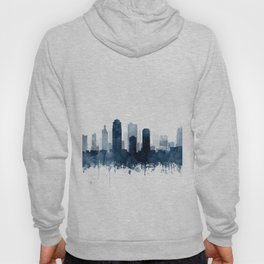 Kansas City Skyline Blue Watercolor by Zouzounio Art Hoody