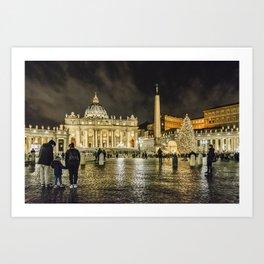 Saint Peters Basilica Winter Night Scene, Rome, Italy Art Print