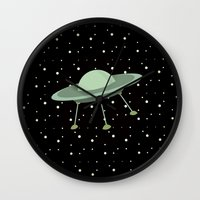ufo Wall Clocks featuring UFO by Mr and Mrs Quirynen