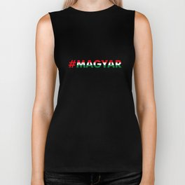 Hashtag Magyar, circle, black Biker Tank