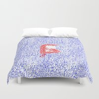 letters Duvet Covers featuring Letters by Olya Goloveshkina