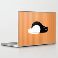 freud Laptop & iPad Skins featuring Black Cat, White Cat by Gabor Edes