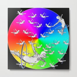 Synchronised Rainbow Hoop Divers Metal Print
