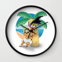 hercules Wall Clocks featuring Hercules Beetle by Chrissi H