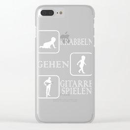 """A Perfect Gift German Tee """"Krabbeln Gehen Gutarre Spielen"""" T-shirt Design Strumming Musician Pluck Clear iPhone Case"""