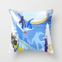 snowboarding Throw Pillows featuring Snowboarding by Robin Curtiss