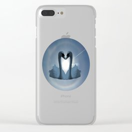 Two Blue Swans Inside Sun's Halo Clear iPhone Case