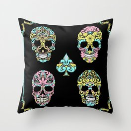 Floral Day Of Dead Sugar Skulls Throw Pillow