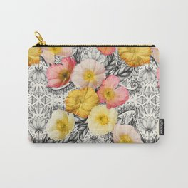 Collage of Poppies and Pattern Carry-All Pouch