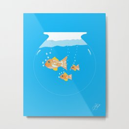 Three Goldfishes In a Water Bowl Metal Print