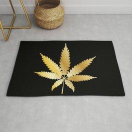 Gold Cannabis Leaf Rug