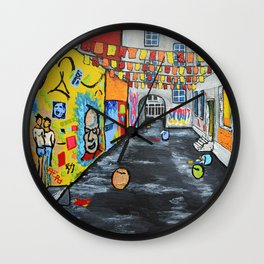 Berlin Alley by Mike Kraus Wall Clock