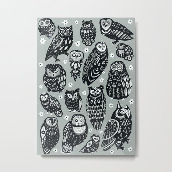 Flock of Owls Metal Print