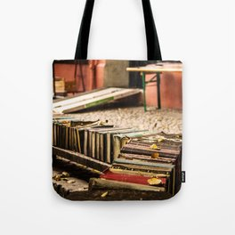 Old books on the street Tote Bag
