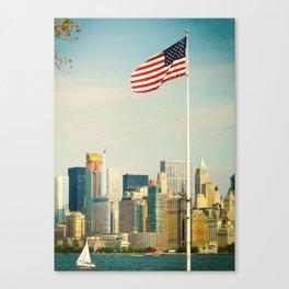 The flag and the city. Ellis Island, New York. Canvas Print