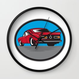 American Vintage Muscle Car Rear Woodcut Wall Clock
