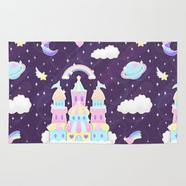 Dreamy Cute Space Castle Rug