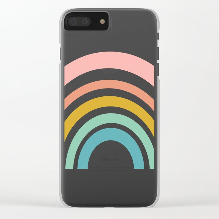 Simple Happy Rainbow Art Clear iPhone Case