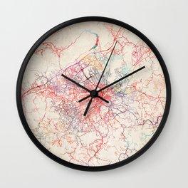 Roanoke map Virginia painting Wall Clock