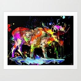 Moose Grunge Art Print