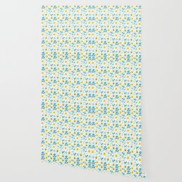 Summer flowers in yellow and blue in white background Wallpaper