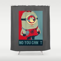 obama Shower Curtains featuring Minion Obama by Skorretto