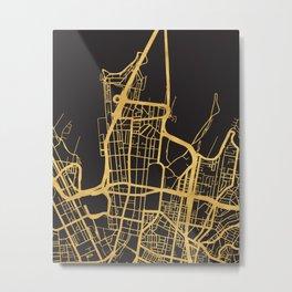 SYDNEY AUSTRALIA GOLD ON BLACK CITY MAP Metal Print