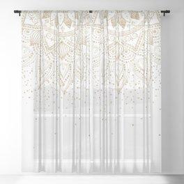 Elegant Gold Mandala Confetti Design Sheer Curtain