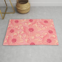 Pink Daisies | Daisy Flowers, Pastel Pink, Real Flowers, Pressed Flowers, Sweet, Pretty, Floral Photo Rug