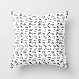 Museum Animals | Dinosaur Skeletons on White Throw Pillow