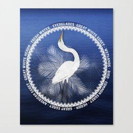 Great Egret Wreath Canvas Print