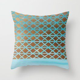 Turquoise, Triangles Gold Throw Pillow