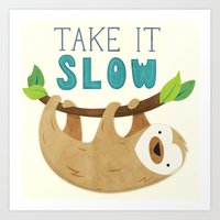 sloth Art Prints featuring Sloth by Claire Lordon