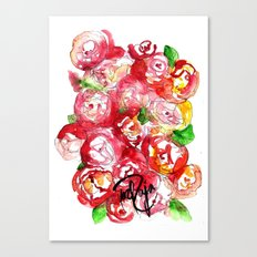 Cherry Peonies Canvas Print