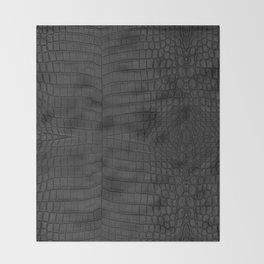 Black Crocodile Leather Print Throw Blanket