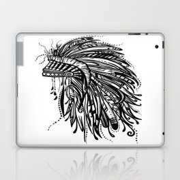 Native American Indian Headdress Warbonnet Black and White Laptop & iPad Skin