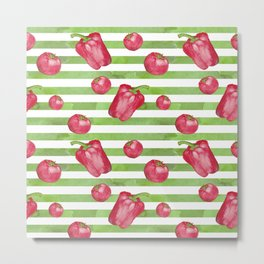 Red Bell Peppers on Green Stripes Metal Print