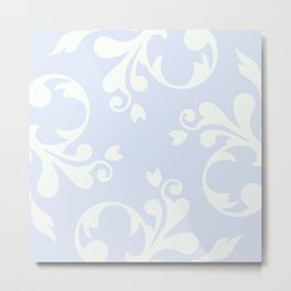 French Damask, Ornaments, Swirls - Blue White Metal Print